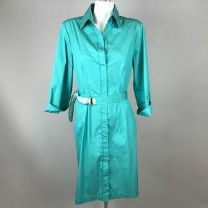 Hugo Boss Dashina Green Short Sleeve Belted Dress